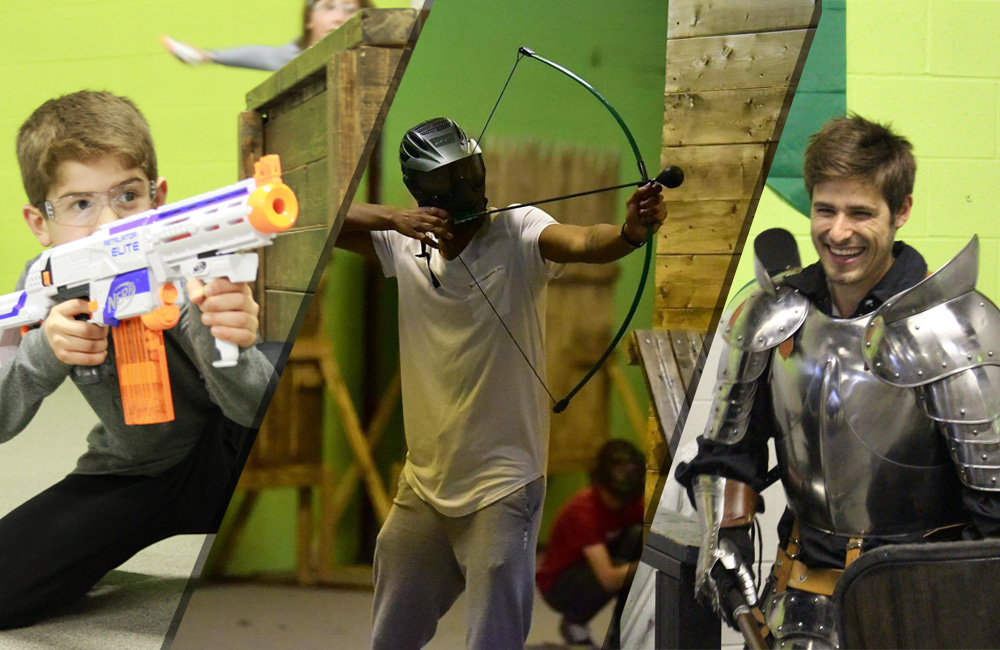 Nerf wars, battle archery, speedball and larp