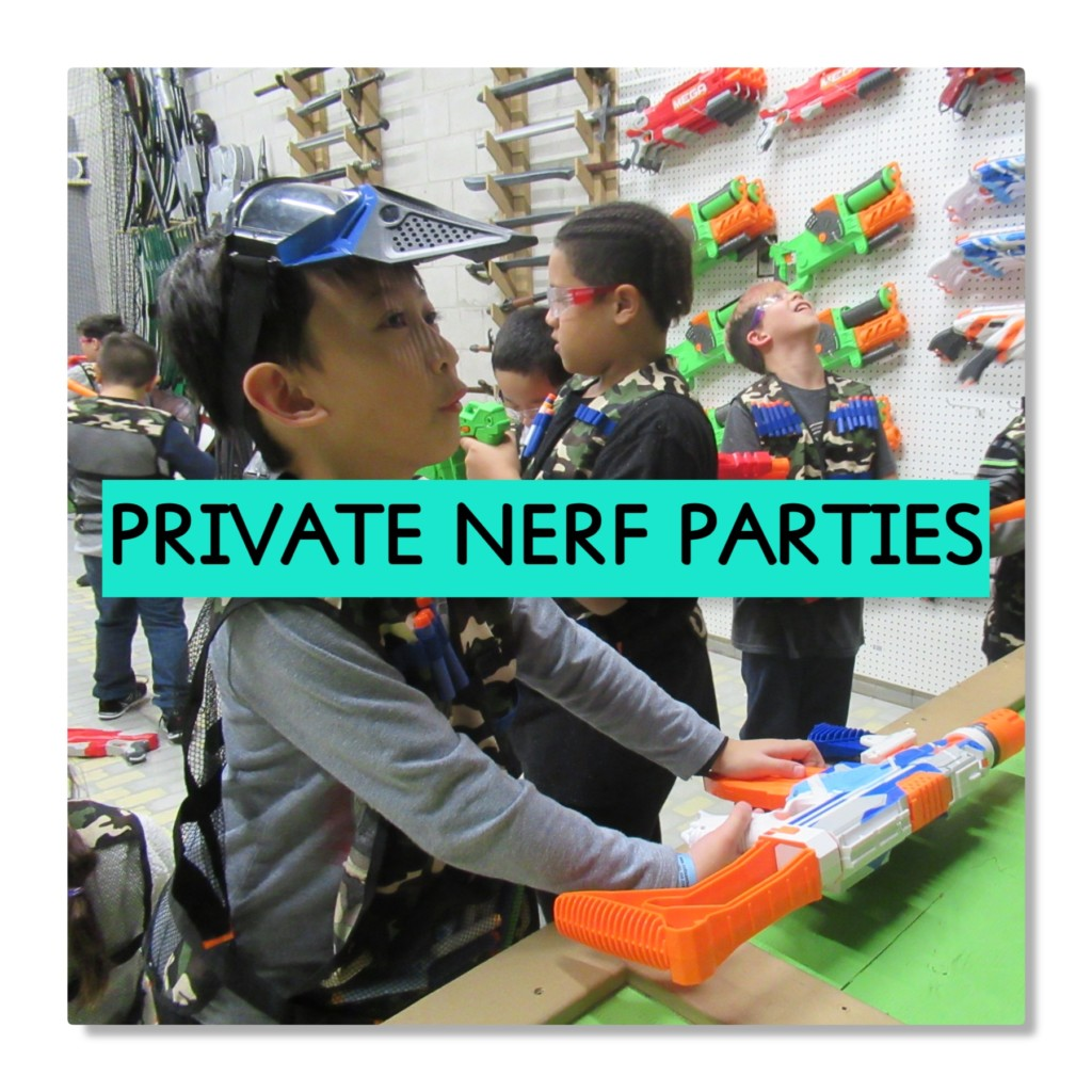 kid from party grabbing nerf guns with text saying private nerf parties