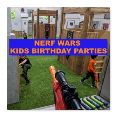 nerf wars birthday party photo with kids holding nerf guns in the mississauga birthday arena