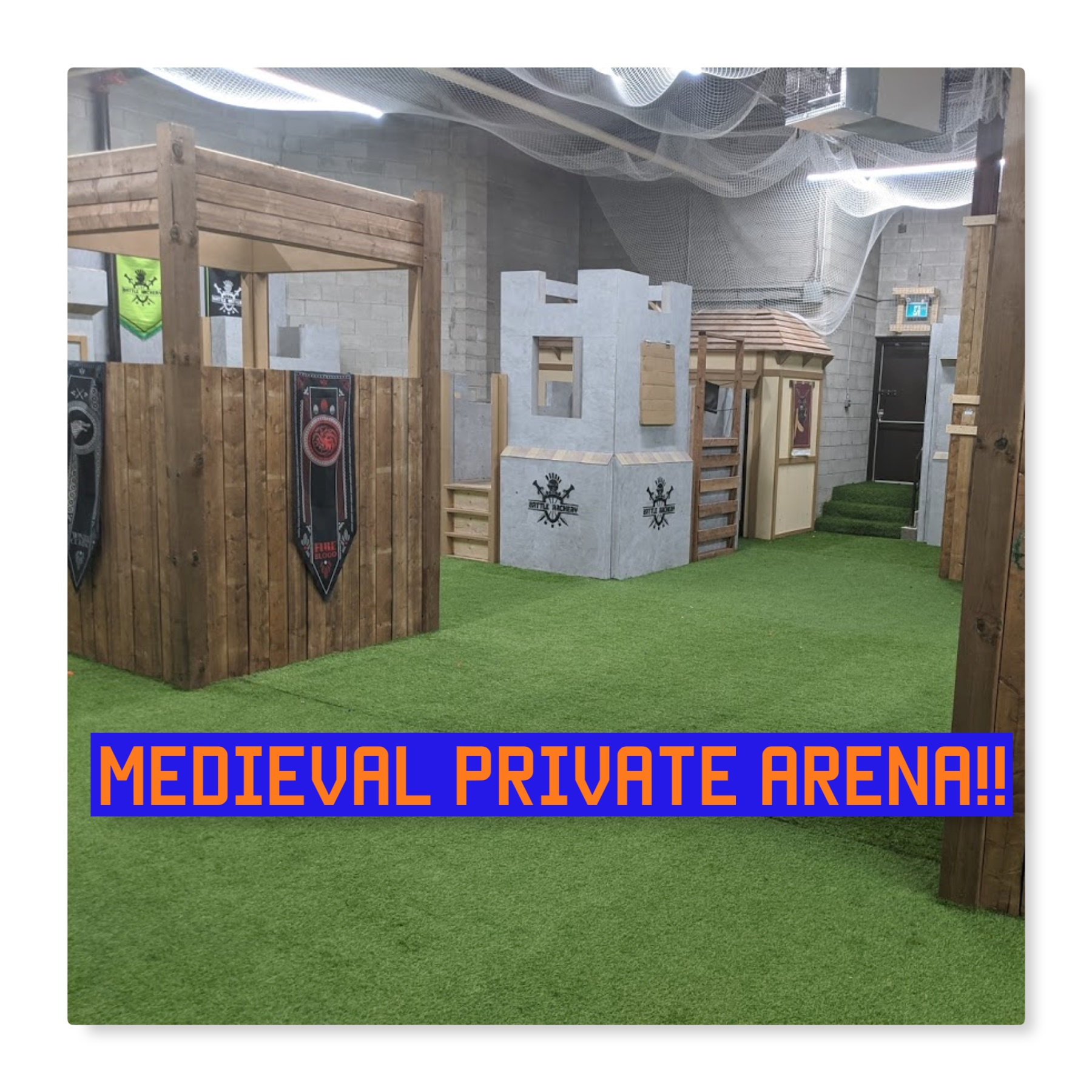 photo of battle archery private nerf arena with castle towers and turf