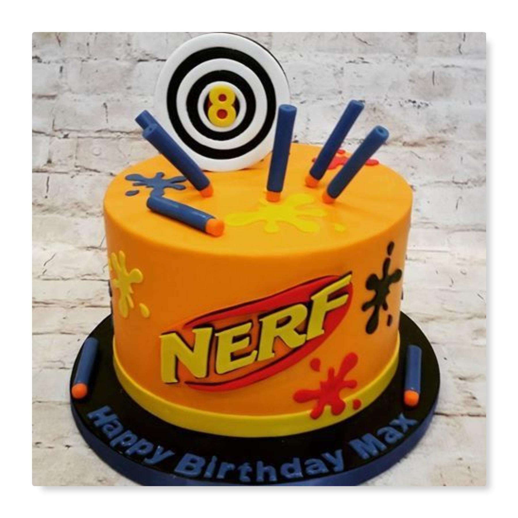 nerf wars birthday party cake
